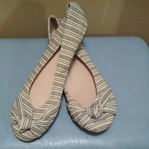 Women's black and cream ballet flats size 9.5